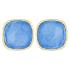 Jona Lapis Lazuli Quartz Mother of Pearl 18 Karat Yellow Gold Stud Earrings