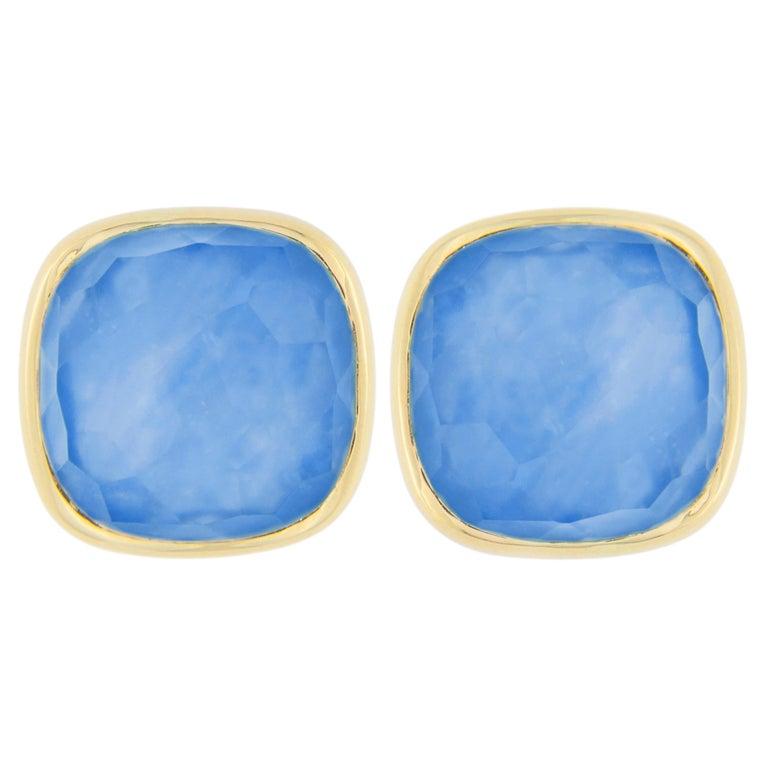 Jona Lapis Lazuli Quartz Mother of Pearl 18 Karat Yellow Gold Stud Earrings For Sale