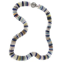 Jona Lapis Quartz Amethyst Silver Beaded Rondelle Necklace
