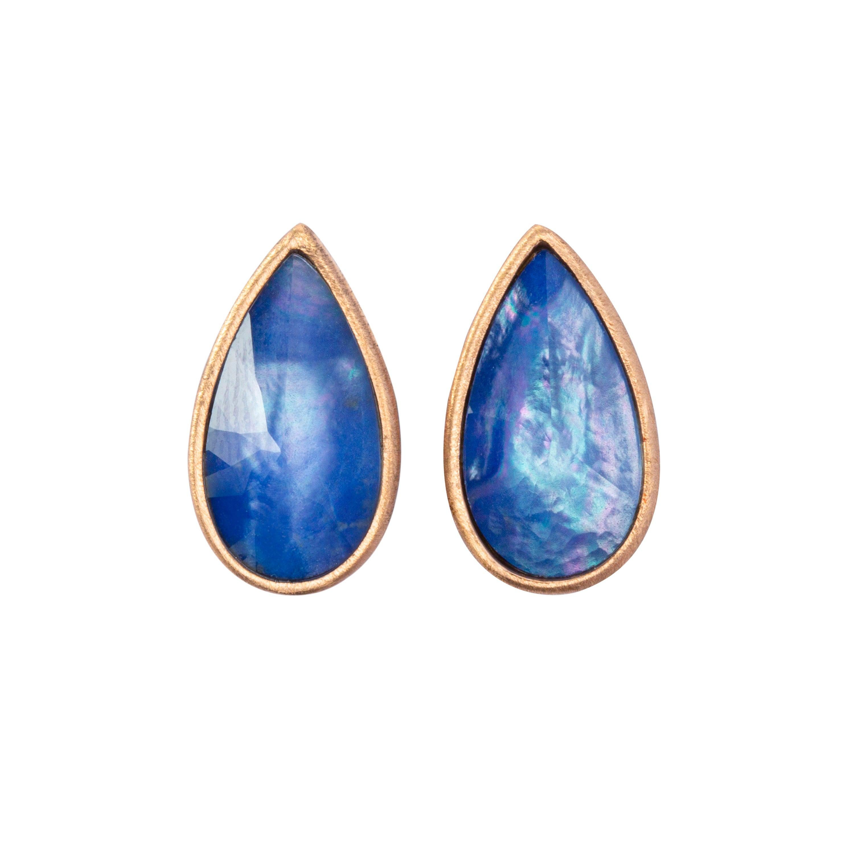 Jona Lapis Quartz 18 Karat Rose Gold Earrings