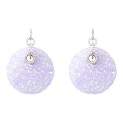 Jona Lavender Jadeite Jade 18 Karat White Gold White Diamond Dangle Earrings