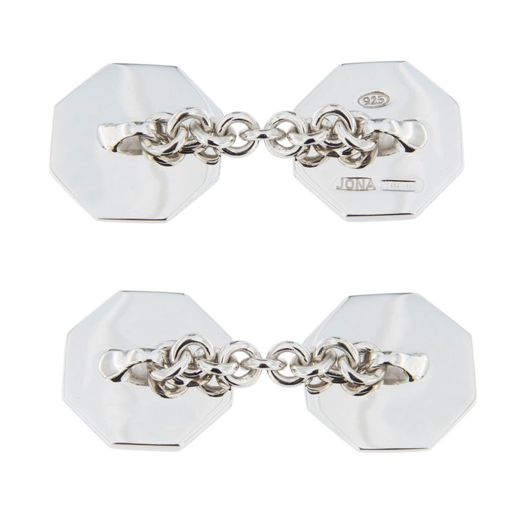 Jona Light Blue Enamel Sterling Silver Cufflinks In New Condition For Sale In Torino, IT