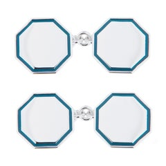 Jona Light Blue Enamel Sterling Silver Cufflinks