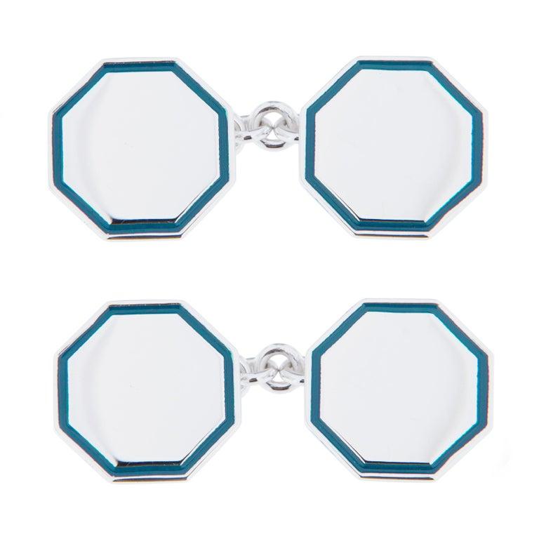 Jona Light Blue Enamel Sterling Silver Cufflinks For Sale