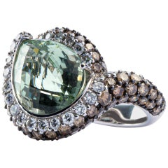 Jona Light Green Beryl White and Brown Diamond 18 Karat White Gold Ring