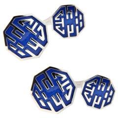 Jona Long and Happy Life Symbol Enamel Sterling Silver Cufflinks