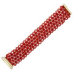Jona Mediterranean Coral Yellow Gold Cuff Bracelet