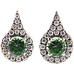Jona Mint Green Grossular Garnet White Diamond 18 Karat White Gold Earrings
