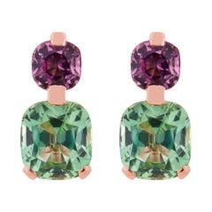 Jona Mint Tourmaline and Malaya Garnet 18 Karat Rose Gold Drop Clip on Earrings