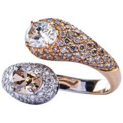 Jona Moi et Toi Champagne and Brown Diamond 18 Karat White Gold Crossover Ring