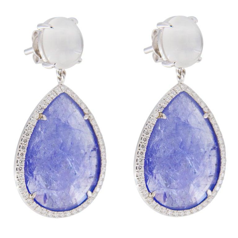 Jona Moonstone Diamond Tanzanite White Gold Pendant Earrings In New Condition For Sale In Torino, IT