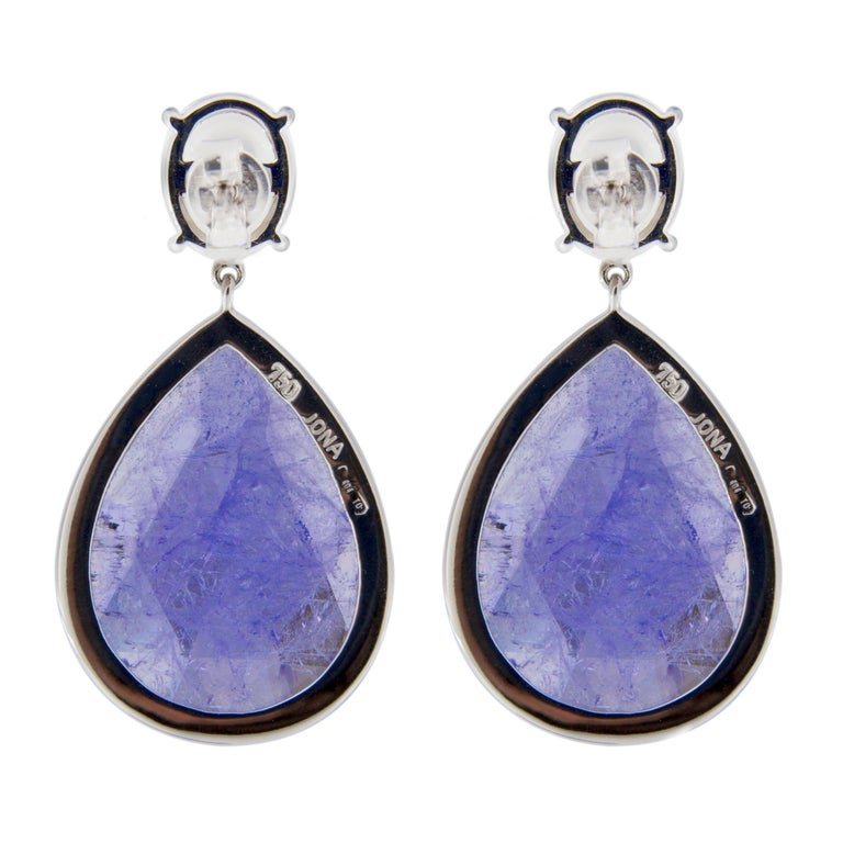 Women's Jona Moonstone Diamond Tanzanite White Gold Pendant Earrings For Sale