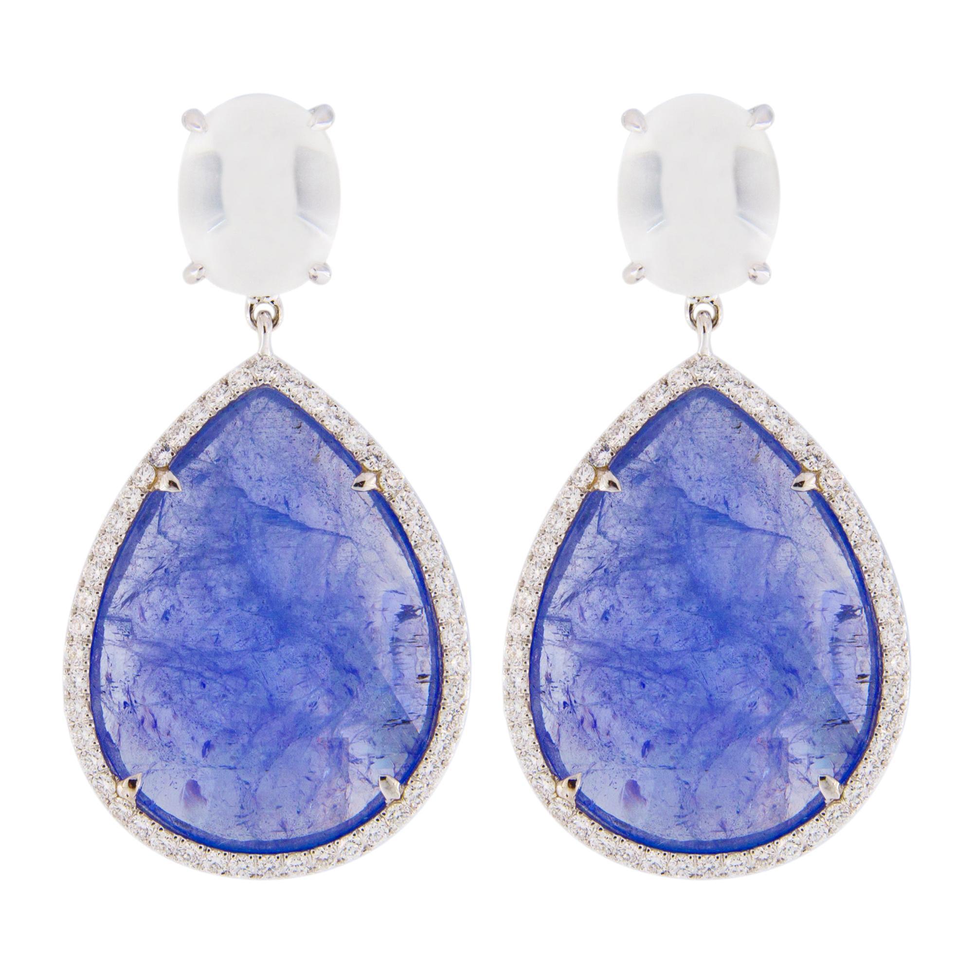 Jona Moonstone Diamond Tanzanite White Gold Pendant Earrings