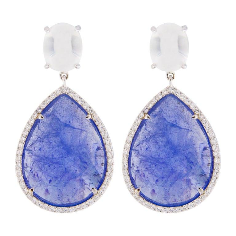 Jona Moonstone Diamond Tanzanite White Gold Pendant Earrings For Sale