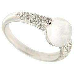 Jona Moonstone White Diamond 18 Karat White Gold Ring