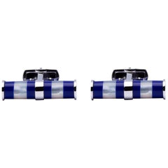 Jona Mother of Pearl Lapis Bar Sterling Silver Cufflinks
