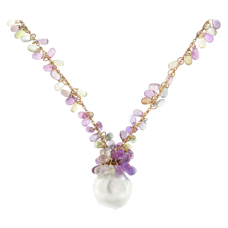 Jona Multicolor Sapphire South Sea Pearl Tassel 18 Karat Rose Gold Drop Necklace