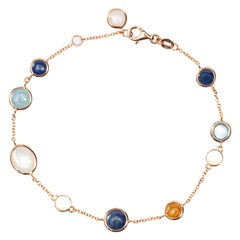 Jona Multiple Gem 18 Karat Rose Gold Chain Bracelet
