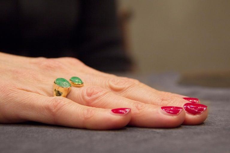 Jona Natural Burmese Jadeite Jade 18 Karat Yellow Gold Ring For Sale 1