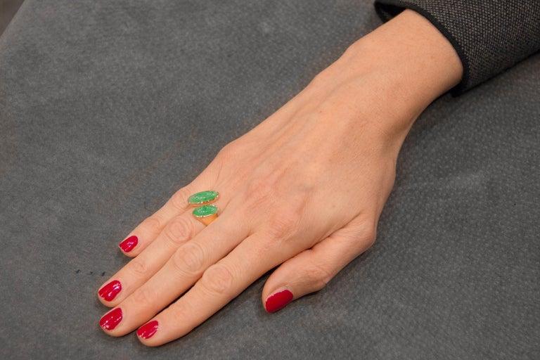 Jona Natural Burmese Jadeite Jade 18 Karat Yellow Gold Ring For Sale 4