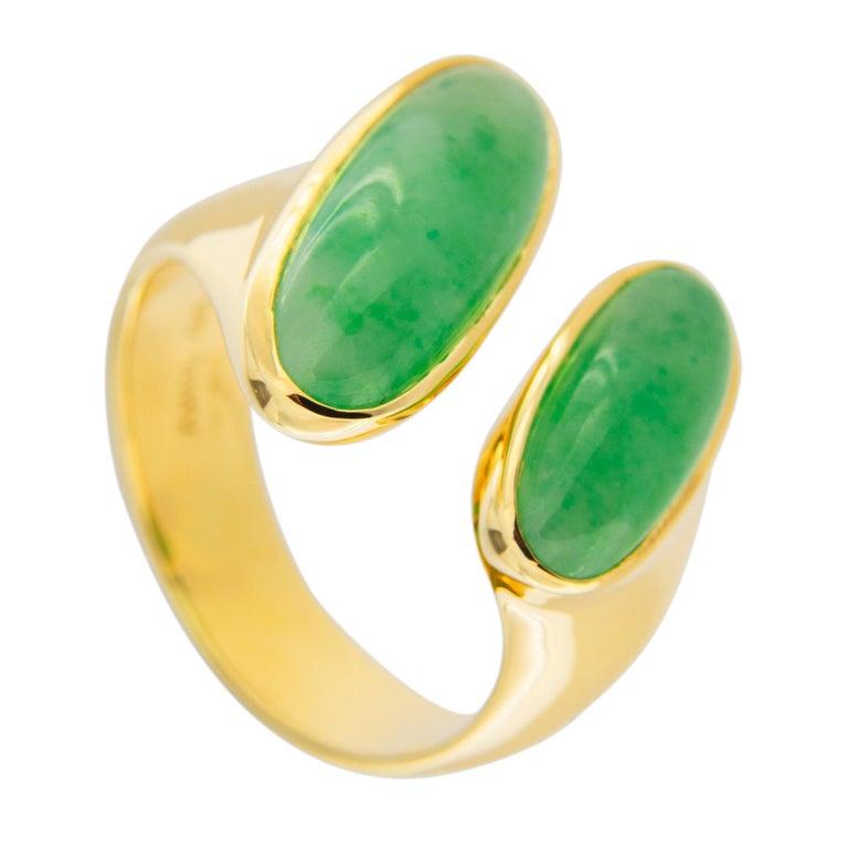 Jona Natural Burmese Jadeite Jade 18 Karat Yellow Gold Ring In New Condition For Sale In Torino, IT