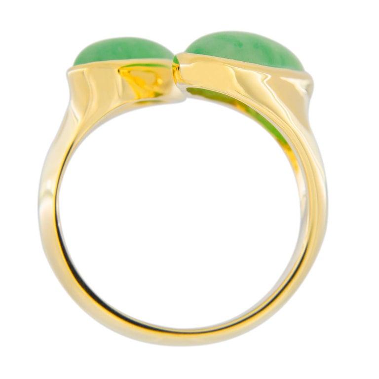 Jona Natural Burmese Jadeite Jade 18 Karat Yellow Gold Ring For Sale 3