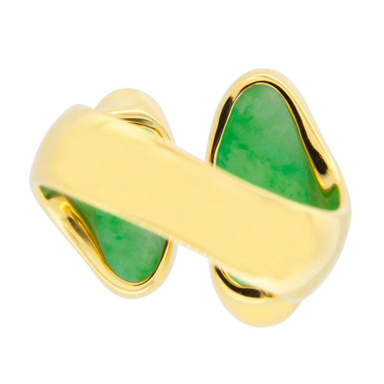 Jona Natural Burmese Jadeite Jade 18 Karat Yellow Gold Ring For Sale 7