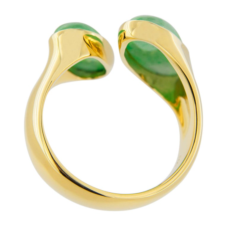 Jona Natural Burmese Jadeite Jade 18 Karat Yellow Gold Ring For Sale 8