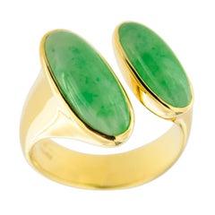 Jona Natural Burmese Jadeite Jade 18 Karat Yellow Gold Ring