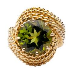 Jona Natural Peridot Yellow Gold Nounou Ring
