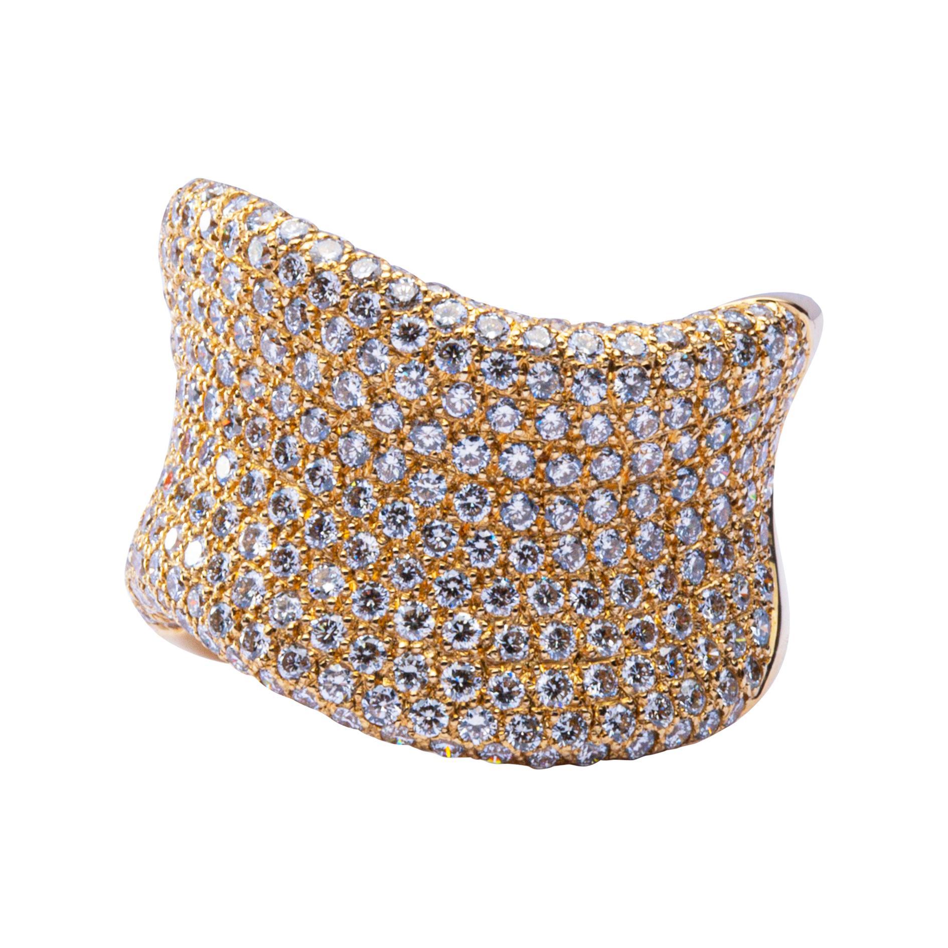 Alex Jona Onda White Diamond 18 Karat Yellow Gold Band Ring