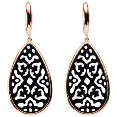 Alex Jona Onyx 18 Karat Rose Gold Carved Openwork Onyx Dangle Earrings
