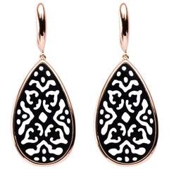 Jona Onyx 18 Karat Rose Gold Carved Openwork Onyx Dangle Earrings