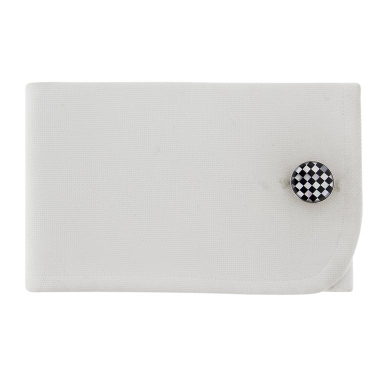 Jona design collection, hand crafted in Italy, rhodium plated sterling silver Onyx and Mother of Pearl cufflinks. Marked Jona 925. Dimensions: Diameter 0.58 in X Depth 0.10 in - 14.91 mm  x 2.57 mm  All Jona jewelry is new and has never been