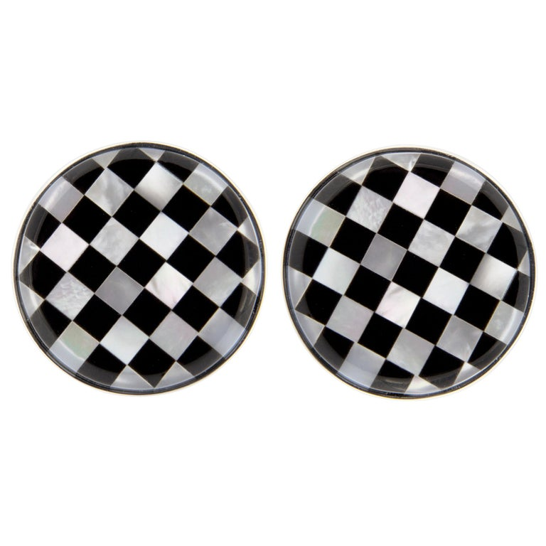 Jona Onyx Mother of Pearl Sterling Silver Cufflinks In New Condition For Sale In Torino, IT