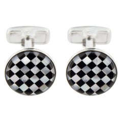 Jona Onyx Mother of Pearl Sterling Silver Cufflinks