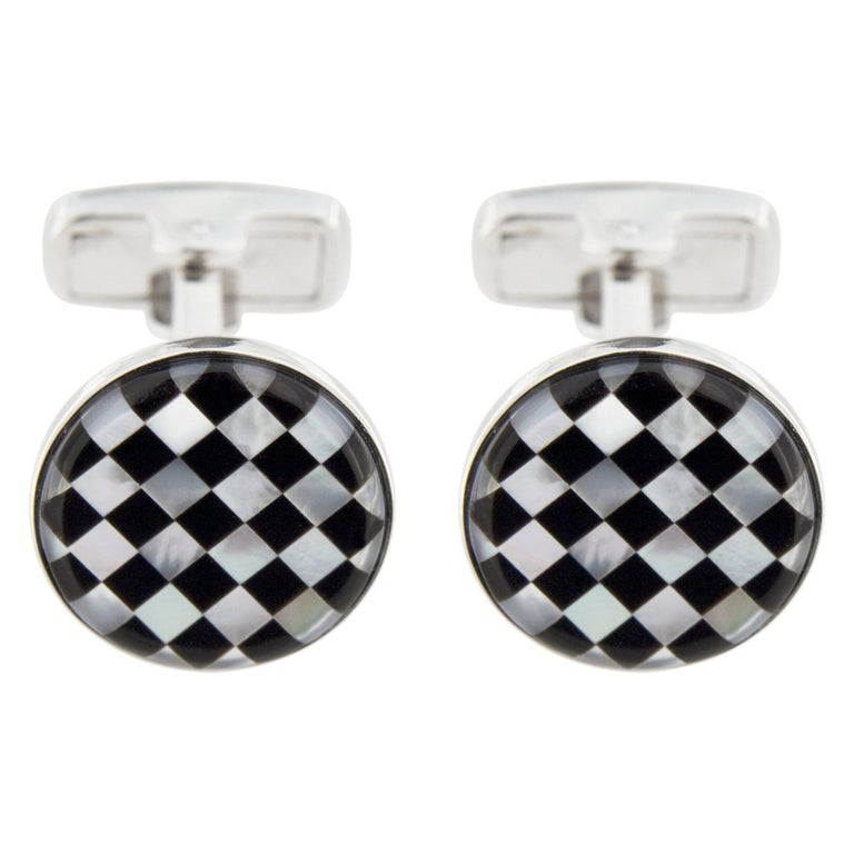 Jona Onyx Mother of Pearl Sterling Silver Cufflinks For Sale