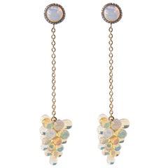 Jona Opal Cluster Diamond 18 Karat Yellow Gold Pendant Earrings