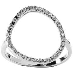 Jona Open Circle Hoop 18 Karat White Gold White Diamond Ring