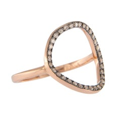 Jona Open Circle Hoop 18 Karat Rose Gold Brown Diamond Ring