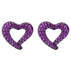 Jona Open Heart Intense Pink Sapphire 18 Karat White Gold Clip-On Earrings