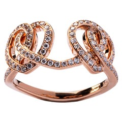 Jona Open Heart Treillage White Diamond 18 Karat Rose Gold Ring