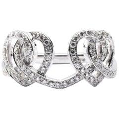 Alex Jona Open Heart Treillage White Diamond 18 Karat White Gold Ring