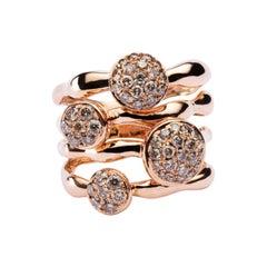 Jona Organic Shape Brown Diamond 18 Karat Rose Gold Ring