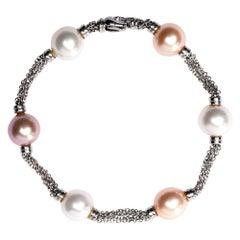 Jona Pearl 18 Karat White Gold Chain Bracelet
