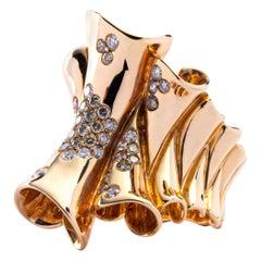 Jona Pergamena White and Brown Diamond 18 Karat Rose Gold Band Ring