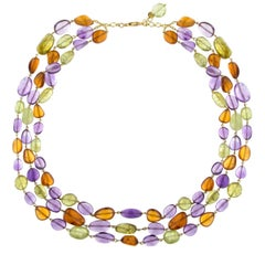 Jona Peridot Amethyst Carnelian 18 Karat Yellow Gold Three Strand Necklace
