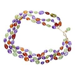 Jona Peridot Amethyst Carnelian 18 Karat Yellow Gold Three-Strand Necklace