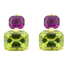 Jona Peridot Mozambique Purple Garnet 18 Karat Yellow Gold Drop Clip-On Earrings