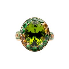 Jona Peridot Orange Sapphire Yellow Sapphire 18 Karat Yellow Gold Ring